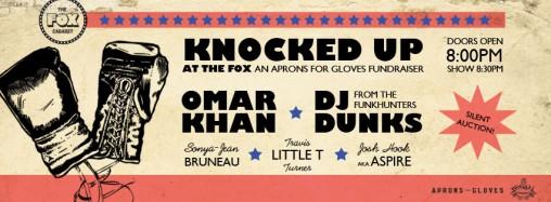 Banner for facebook event for Aprons for gloves fundraiser