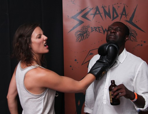 "photobooth at ""Knocked Up at the Fox"", sponsored by Scandal Brewing"