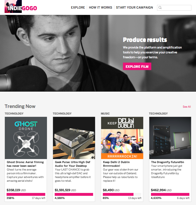Indiegogo home page